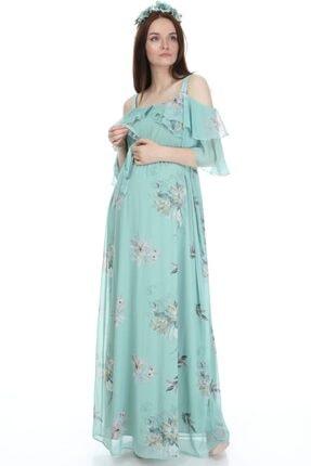 Entarim Kadın Yeşil Çiçek Desenli Maxi Uzun Hamile Elbise 6021-3