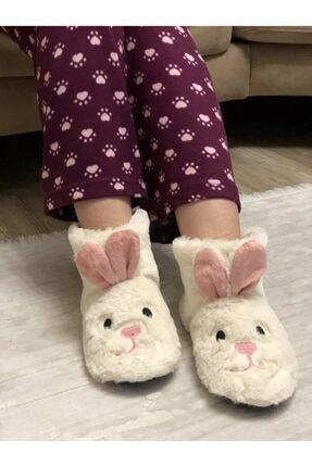 HYBC Kadın Krem Tavşan Modelli Panduf