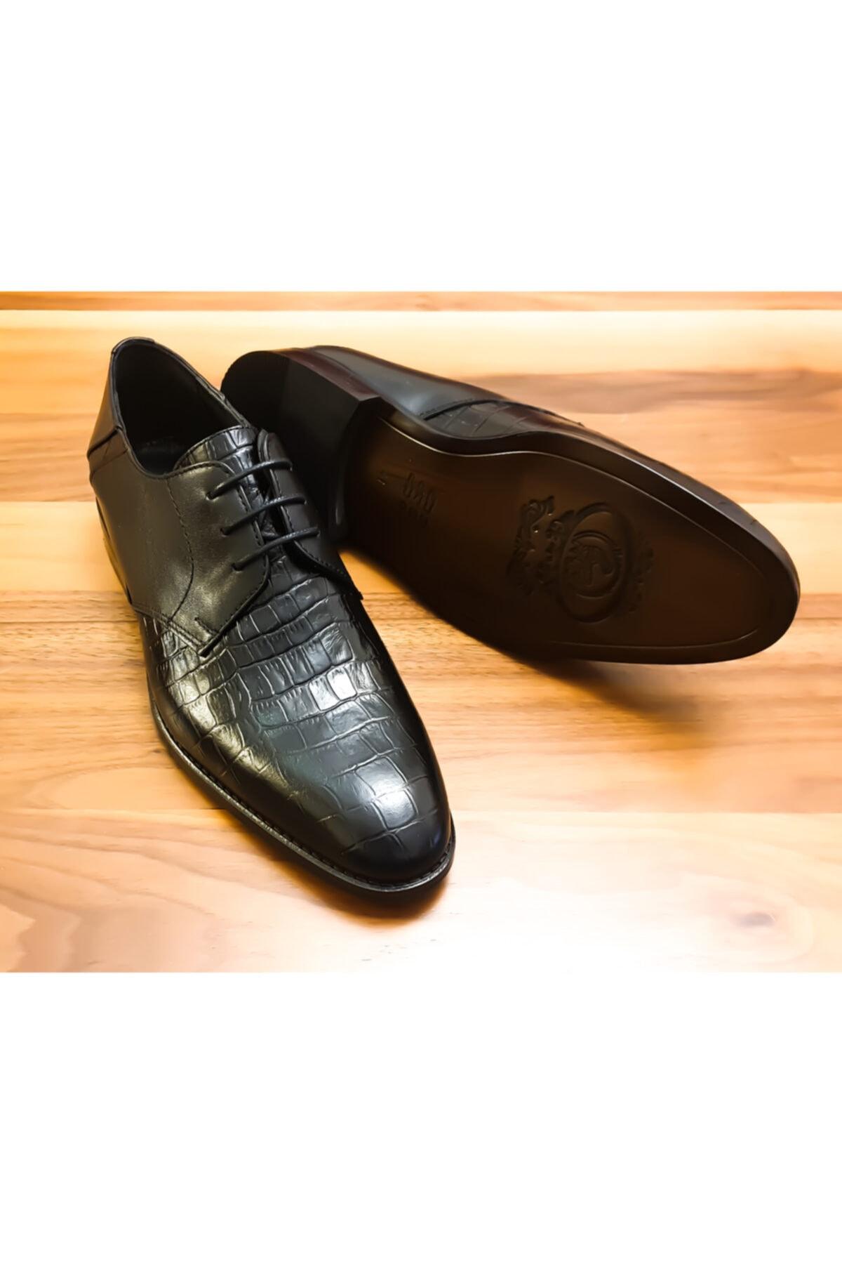 PİTON SHOES Erkek Siyah Hakiki Deri Bağcıklı Klasik Ayakkabı 1