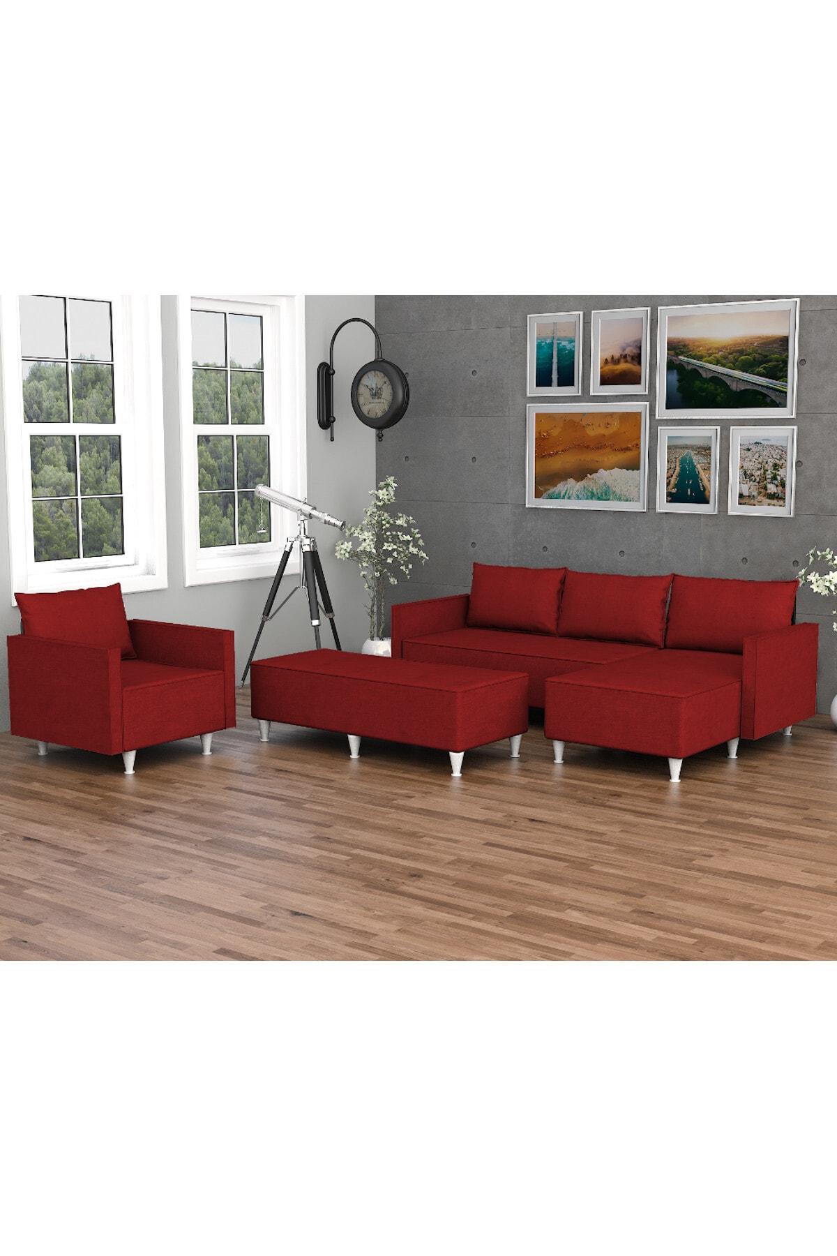 Evdemo Kırmızı Belinay Köşe Koltuk Takımı 1