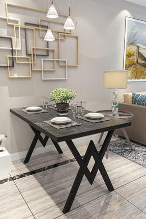 Evdemo Siyah Mermer Parla Mutfak Yemek Masası