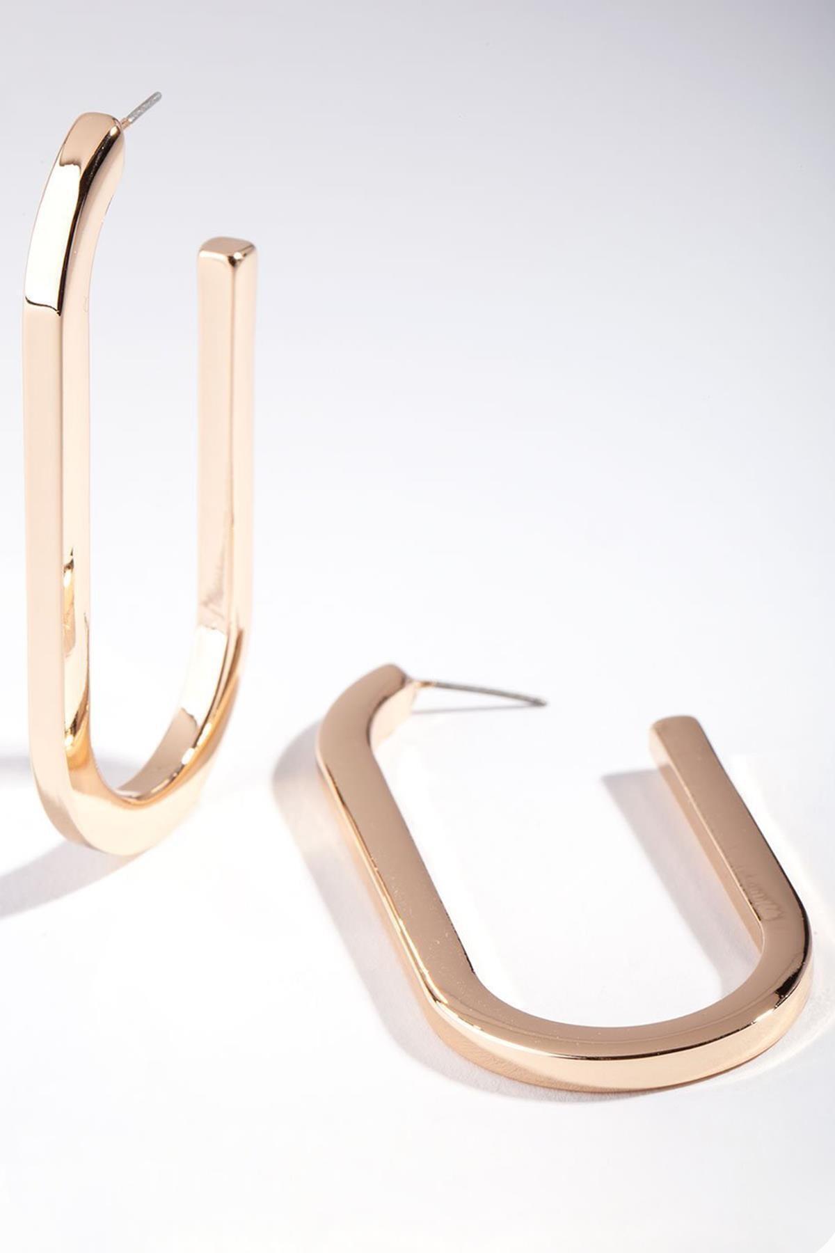 New Obsessions Kadın Altın Renk Uzun Elips Küpe 1