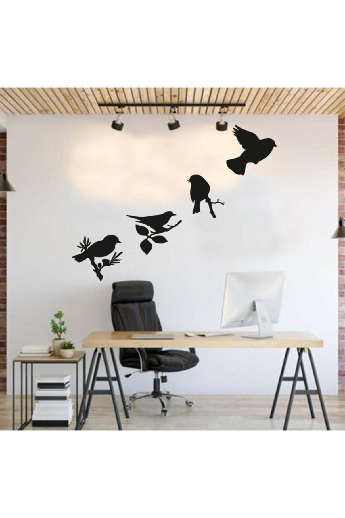 HYL Daldaki Kuşlar Duvar Süsü Dekoratif Ahşap Lazer Kesim Siyah 1