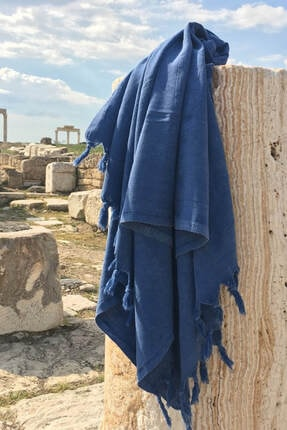 DENIZLI CONCEPT Mavi Efes Taşlanmış Peştemal
