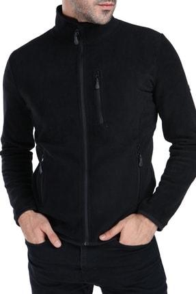 GHASSY CO. Erkek Siyah Tam Fermuarlı 3 Cepli Outdoor Polar Ceket