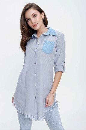 By Saygı Mavi Yaka Ve Cep Kot Detaylı Eteği Püsküllü Çizgilil Gömlek