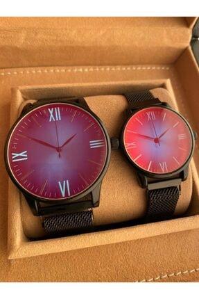 Gold Time Çelik Mıknatıslı Kordon Renkli Bukalemun Cam Sevgili Saat Kombini