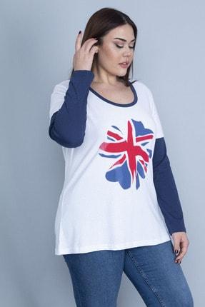 Şans Kadın Beyaz Pamuklu Kumaş Uzun Kollu Renk Kombinli Bluz 65N22972