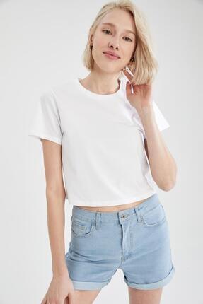 DeFacto Kadın Beyaz Regular Fit Basic Crop Tişört Seti