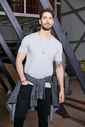 Sateen Men Erkek Gri B. Yaka Kısa Kol T-Shirt