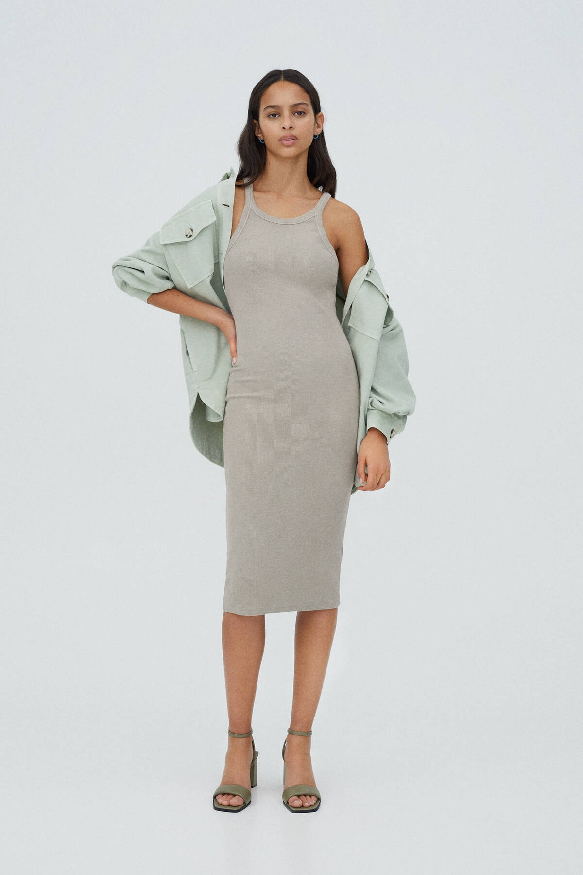 Pull & Bear Kadın Gri Fitilli Basic Halter Yaka Elbise