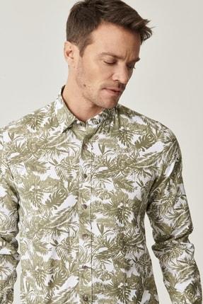 ALTINYILDIZ CLASSICS Erkek HAKI-BEYAZ Düğmeli Yaka Tailored Slim Fit Haki-Beyaz Baskılı Gömlek