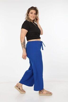 Womenice Kadın Büyük Beden Saks Kurdelalı Bol Paça Pantolon