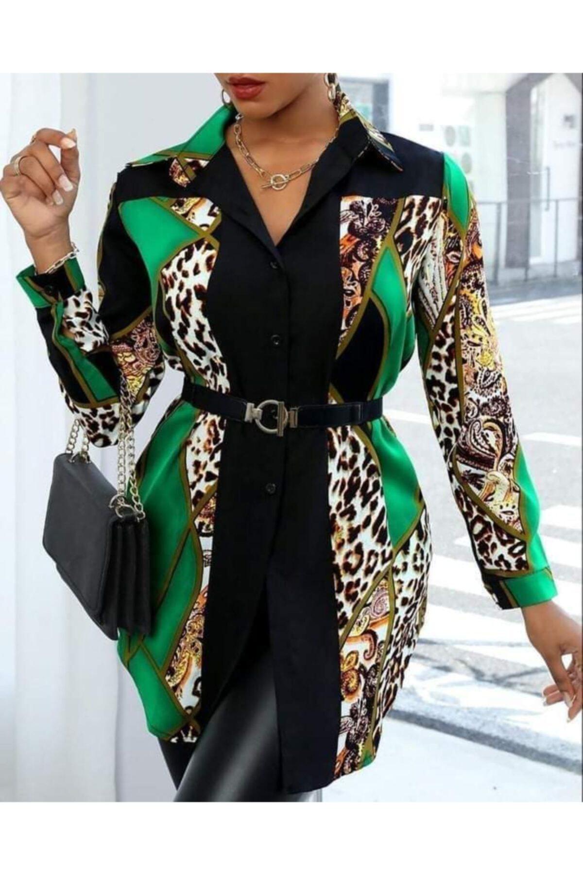 yamanoo Kadın Yeşil Kısa Elbise 1
