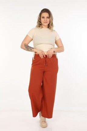 Womenice Kadın Kahverengi Dökümlü Bol Paça Pantolon