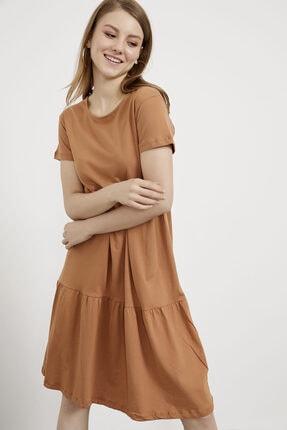 Arma Life Kadın Fındık Kat Volanlı Kısa Kol Penye Elbise 7580