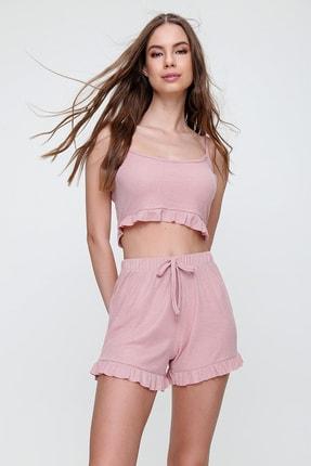 Trend Alaçatı Stili Kadın Pudra Pembe Askılı Fırfırlı Pijama Takımı ALC-X6153