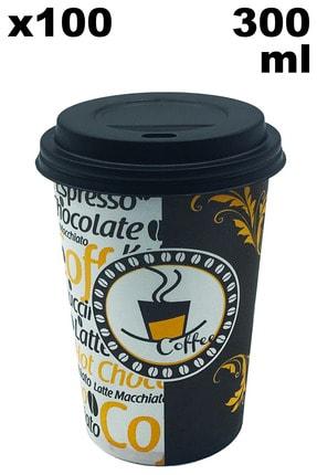 Aygün Cup 12 Oz Siyah Kapaklı Karton Latte Bardak 300 ml - 100'lü