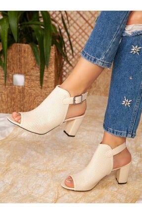 ayakkabıhavuzu Kadın Krem Cilt Topuklu Ayakkabı