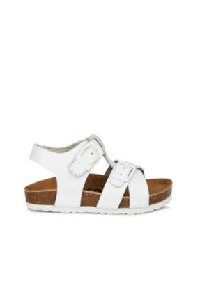 Toddler Unisex Çocuk Beyaz Doğal Deri Mantar Taban Sandalet 22-24