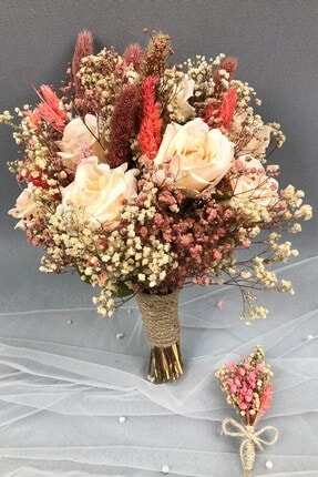 Hayalperest boncuk Somon Kurutulmuş Çiçekli Gelin Buketi Ve Yaka Çiçeği