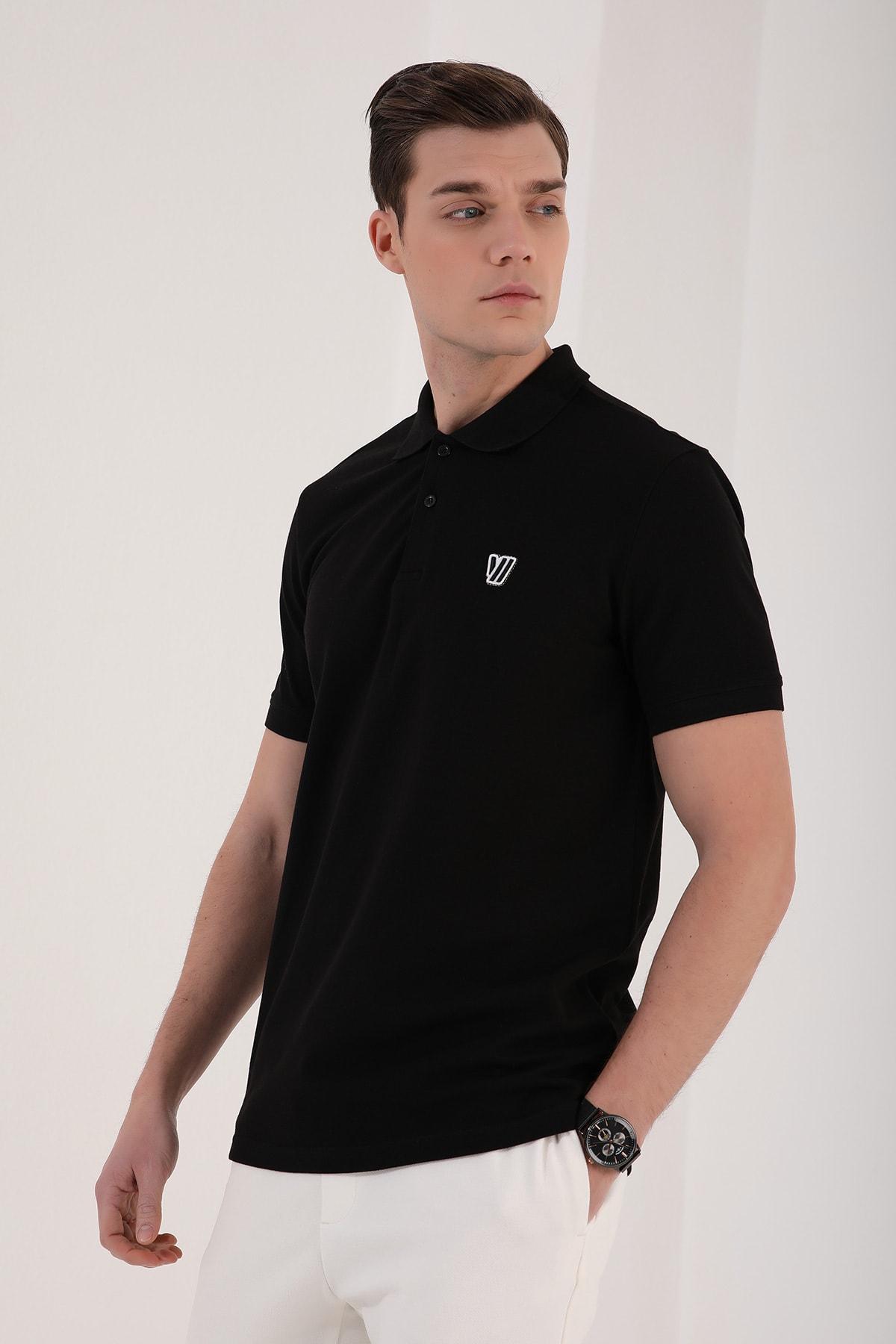 Tommy Life Klasik Polo Yaka Siyah Erkek Tshirt T08ER-87768 1