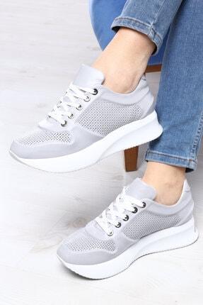 TaximArt Kadın Gri Luna Hakiki Deri Spor Ayakkabı