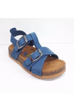 Toddler Unisex Çocuk Mavi Doğal Deri Mantar Taban Kot Sandalet 22 0215
