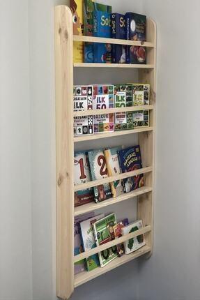 Demox Mobilya Montessori Kitaplık Çocuk Odası Eğitici Kitaplık Ahşap Bebek Çocuk Odası Ahşap Duvar Rafı