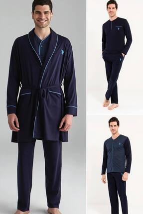 U.S. Polo Assn. Erkek Lacivert 2 Uzun Kollu Pijama + 1 Sabahlık