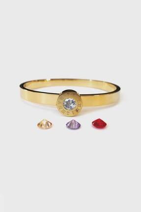 Jewel Değişken Taşlı Gold Altın Kaplama Bileklik