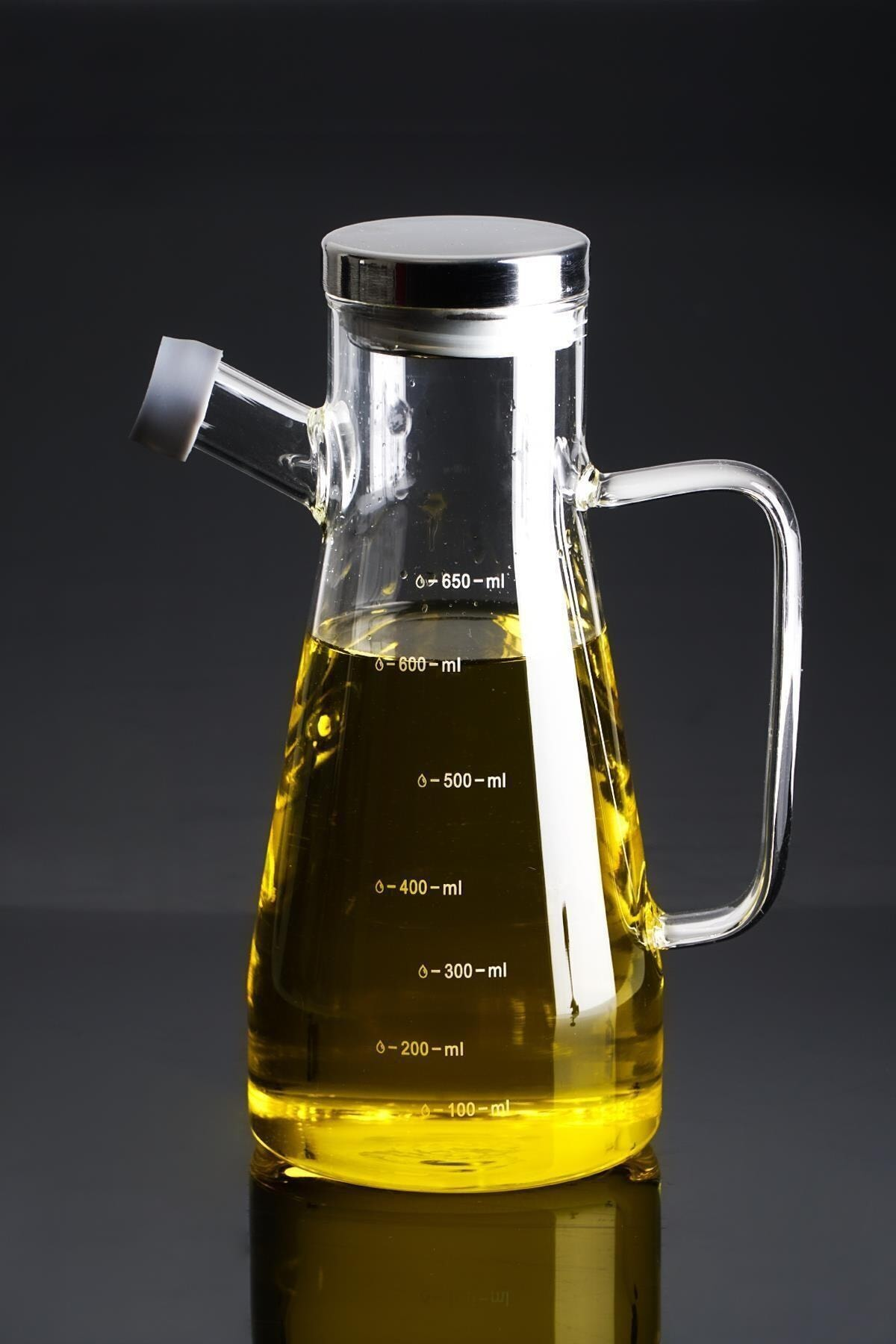 ACAR Evie Metal Kapaklı Cam Yağdanlık - 700 ml 1