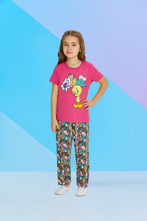 TWEETY Lisanslı Fuşya Kız Çocuk Pijama Takımı