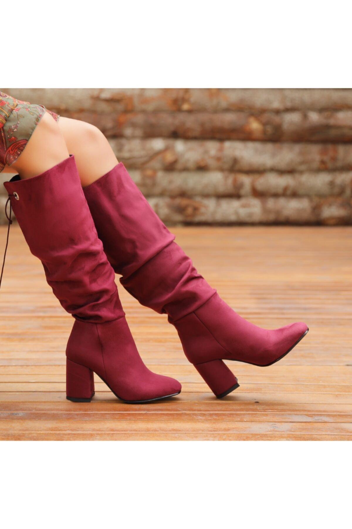 Ayakkabı Delisiyim Süet Mürdüm Rengi Kalın Topuklu Diz Altı Çizme 1