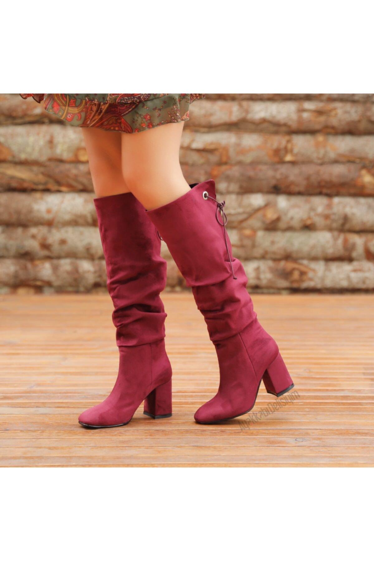 Ayakkabı Delisiyim Süet Mürdüm Rengi Kalın Topuklu Diz Altı Çizme 2