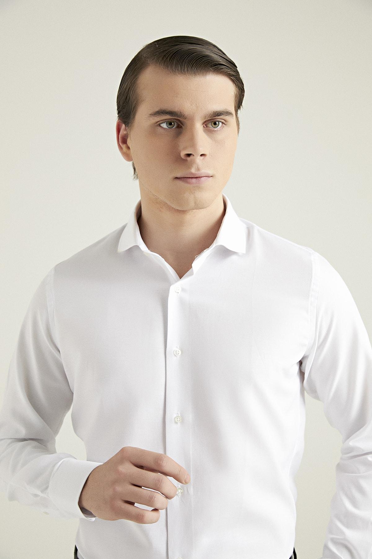 D'S Damat Erkek Gömlek Beyaz Renk Slim Fit 1