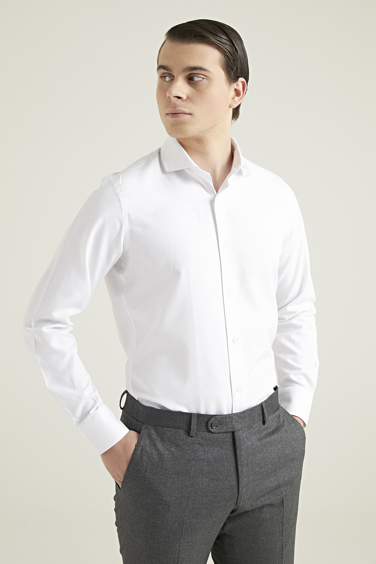 D'S Damat Erkek Gömlek Beyaz Renk Slim Fit 2