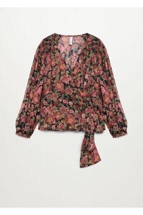 MANGO Woman Çiçekli Anvelop Bluz