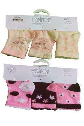 Bebitof Kız Bebek Bordo Pastel Desenli Çorap 6'lı