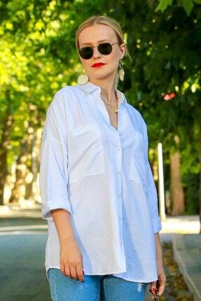 Madmext Kadın Beyaz Cepli Oversize Gömlek Mg596