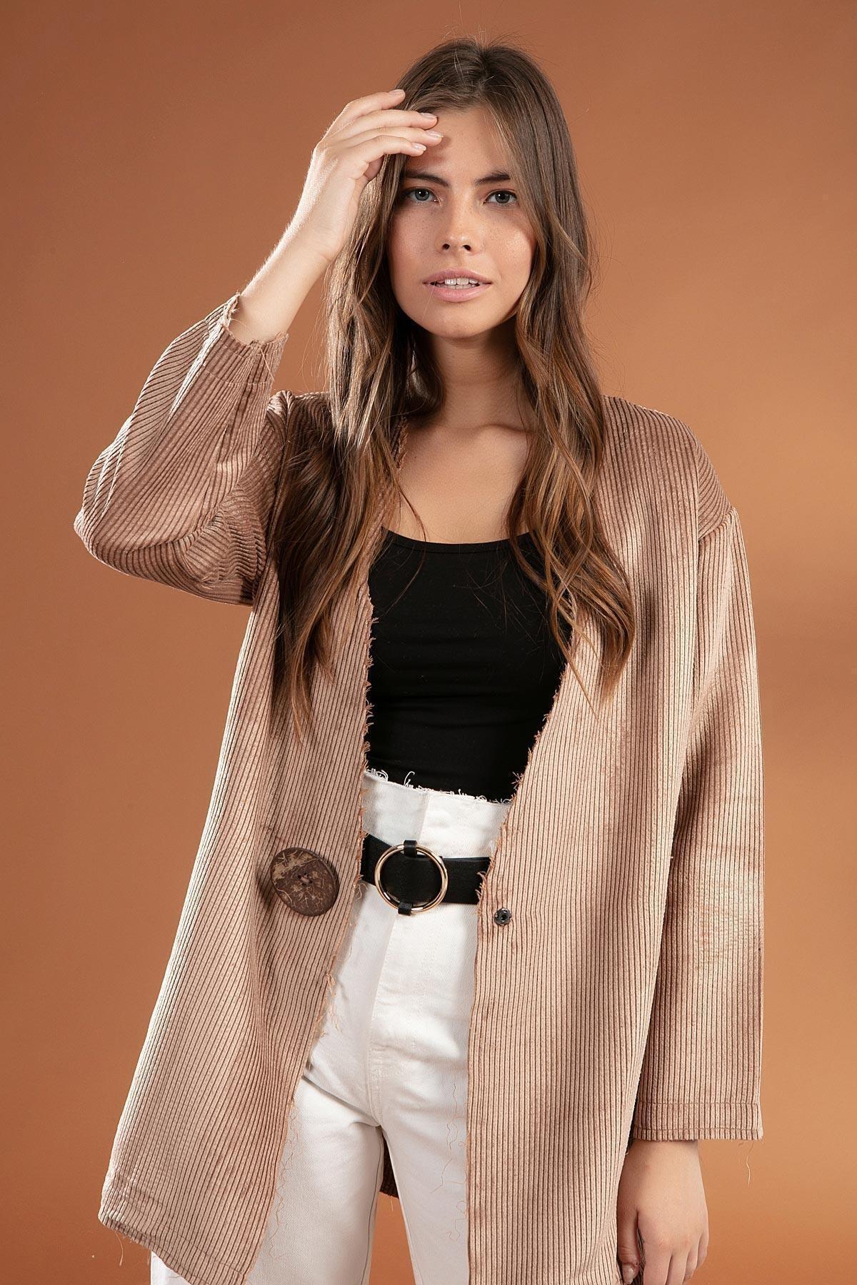 Y-London Kadın Bej Düğme Detaylı Fitilli Kadife Ceket 38069 1