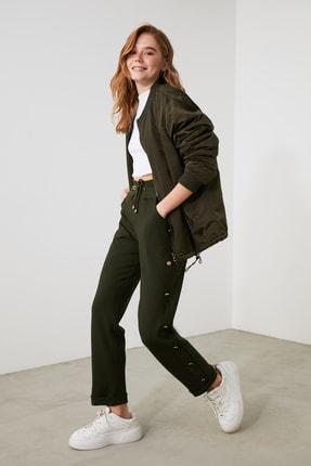 TRENDYOLMİLLA Haki Bağlama Detaylı Örme Pantolon TWOAW21PL0483