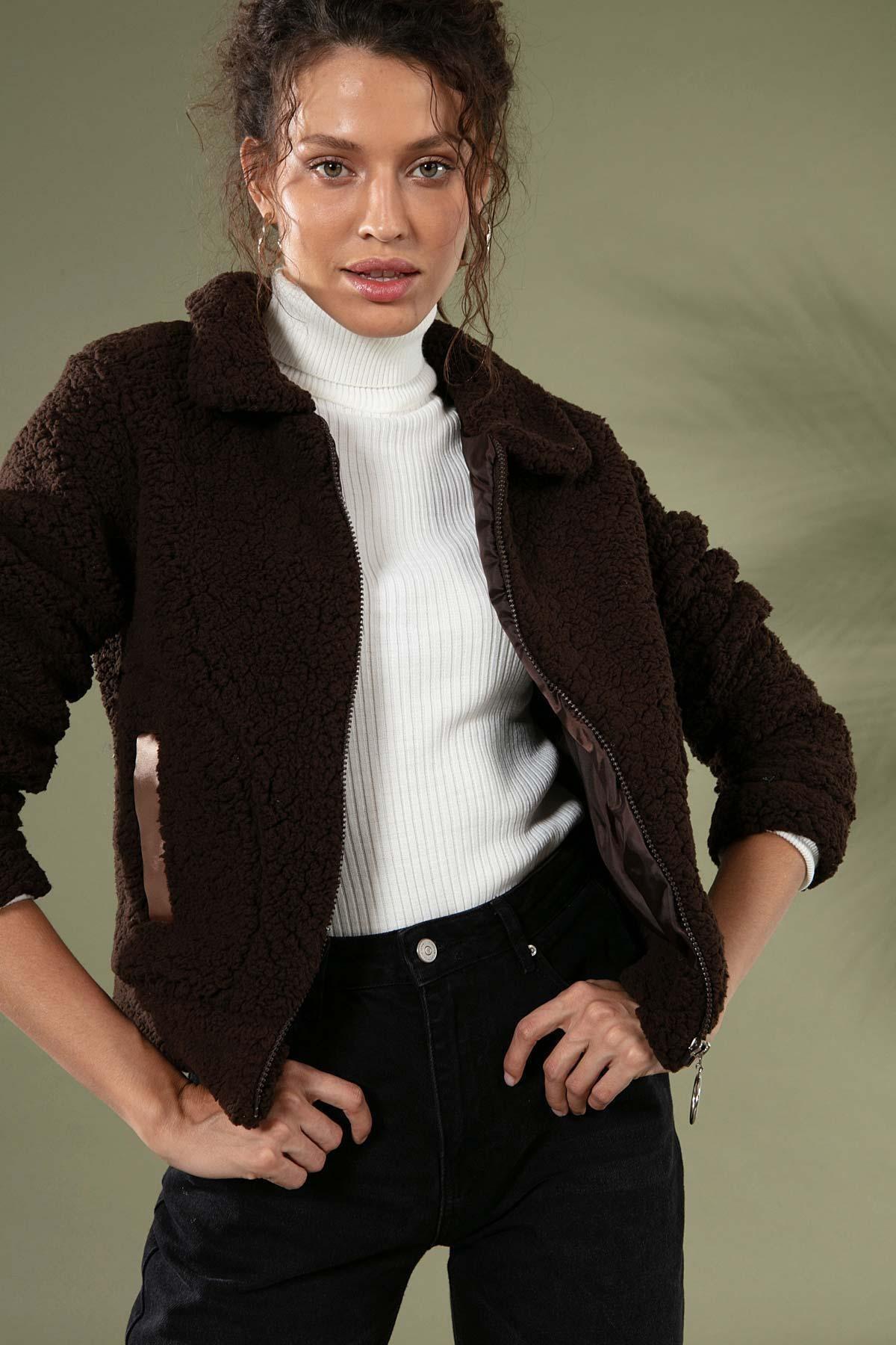 Y-London Kadın Kahverengi Fermuarlı Cepli Peluş Ceket 10358 1