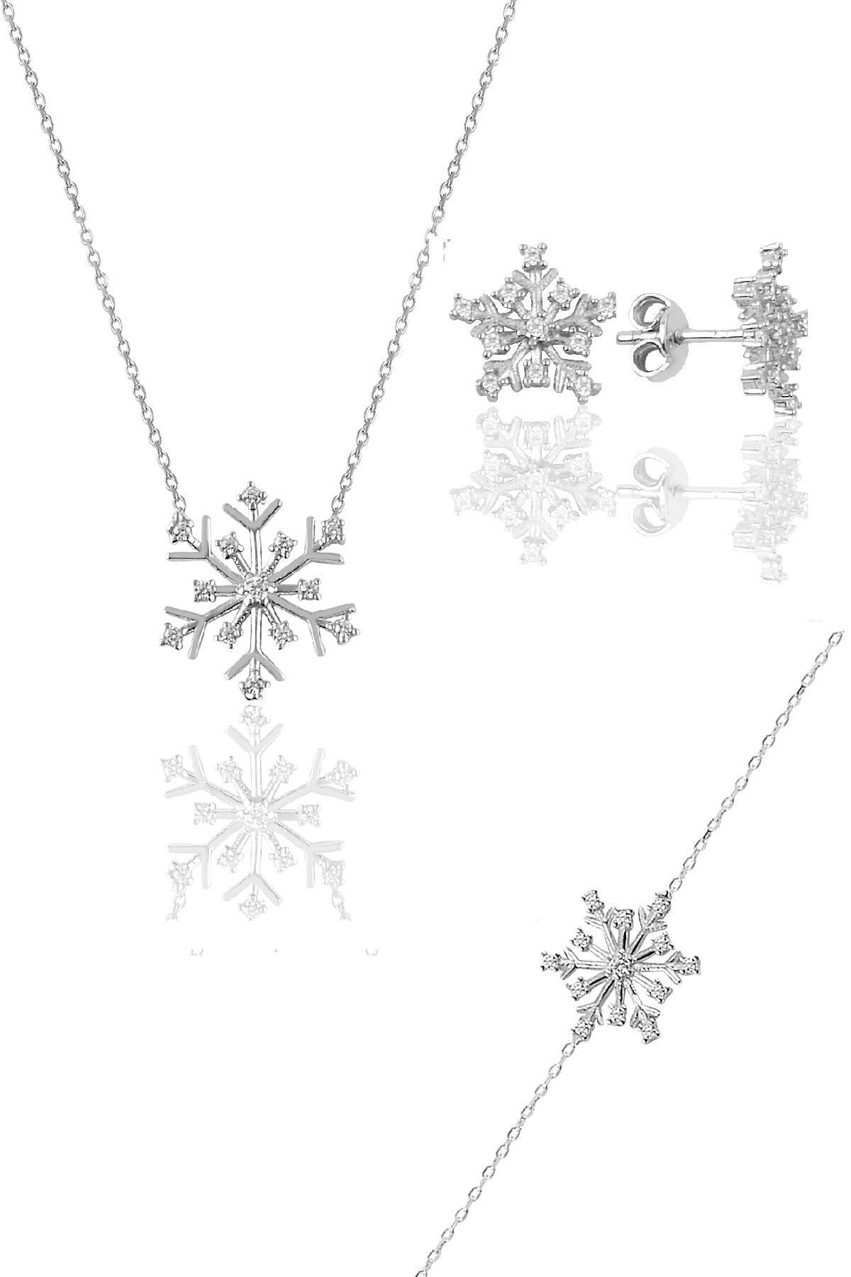 Söğütlü Silver Gümüş Rodyumlu Kartanesi Modeli Üçlü Set 1
