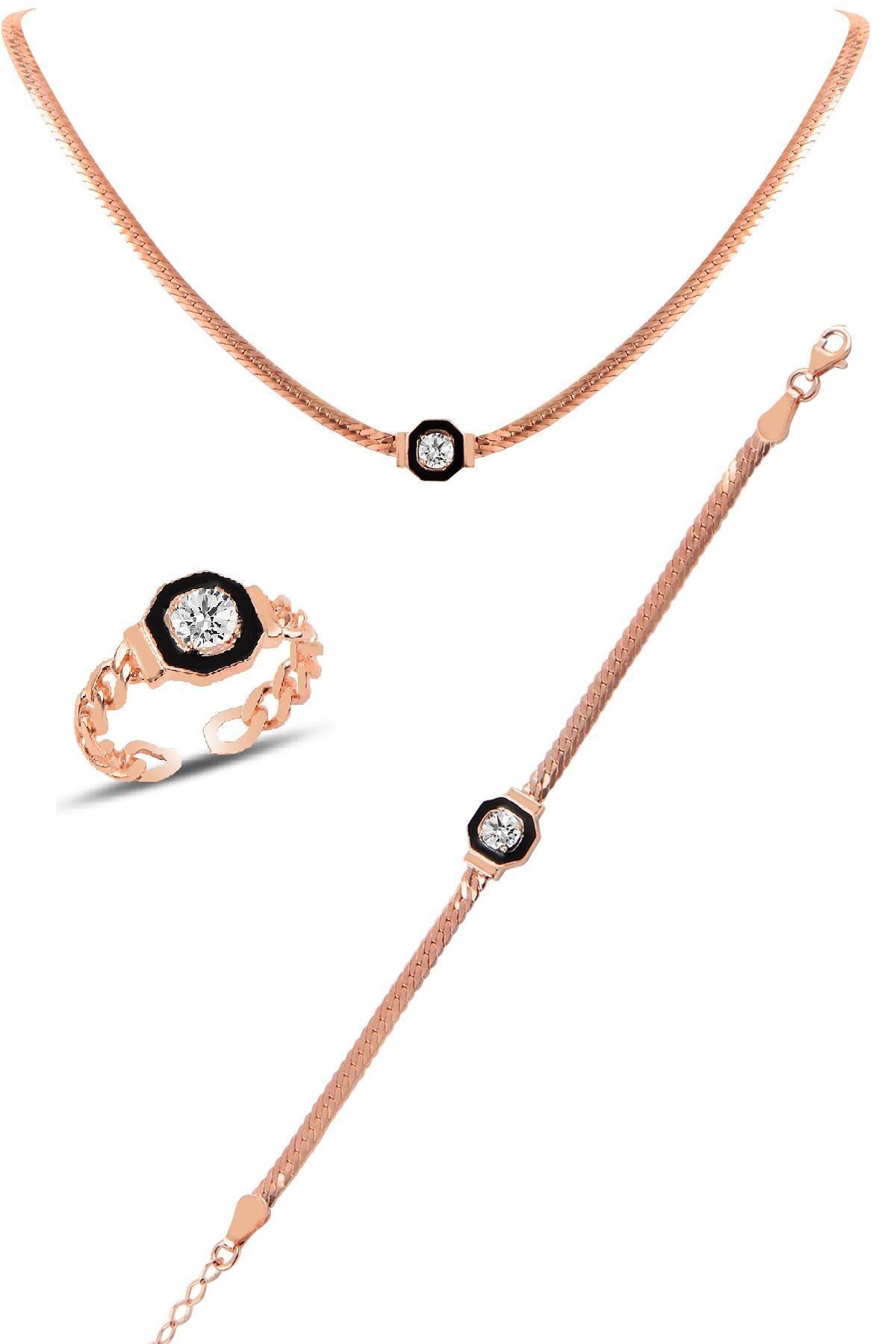 Söğütlü Silver Gümüş rose  çağla şikel kolye bileklik ve yüzük gümüş  takım