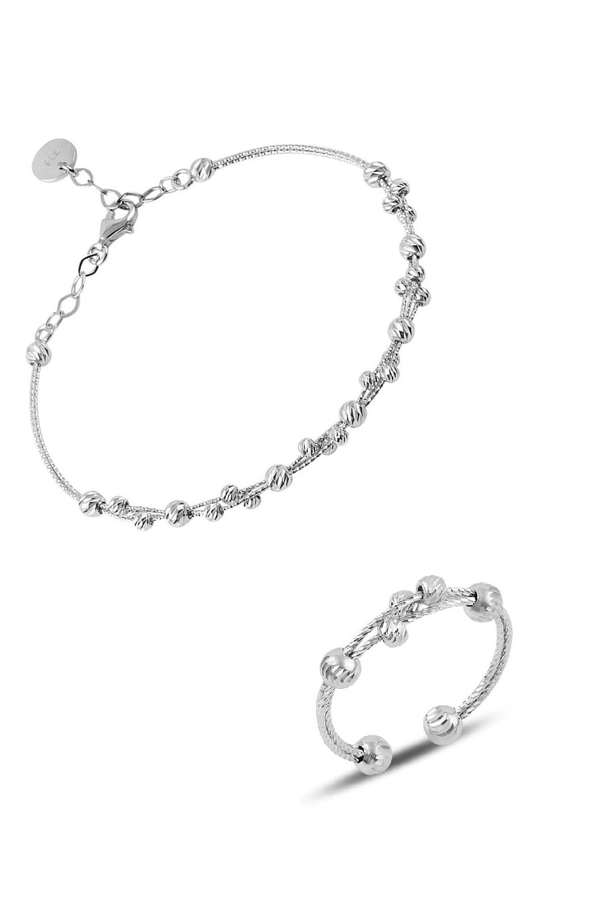 Söğütlü Silver Gümüş dorissa rodyumlu gümüş bilezik ve yüzük gümüş set