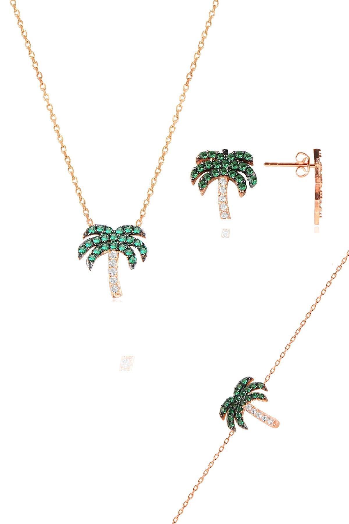 Söğütlü Silver Gümüş rose yeşil taşlı palmiye gümüş üçlü set
