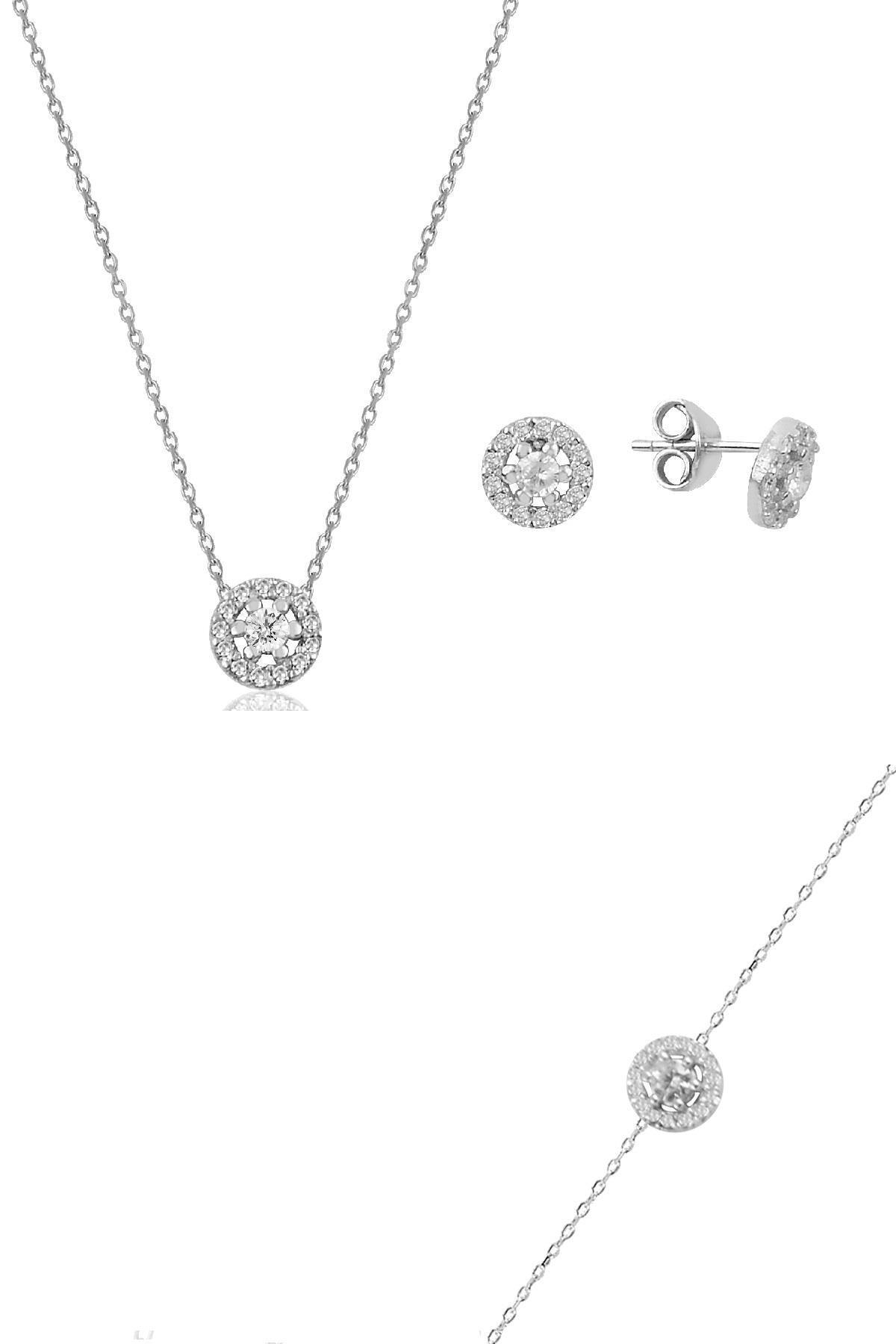 Söğütlü Silver Gümüş rodyumlu pırlanta montürlü kolye bileklik ve küpe gümüş üçlü  set