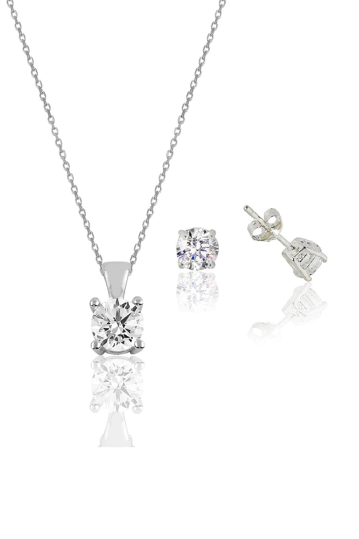 Söğütlü Silver Gümüş rodyumlu tek taş kolye ve küpe gümüş set