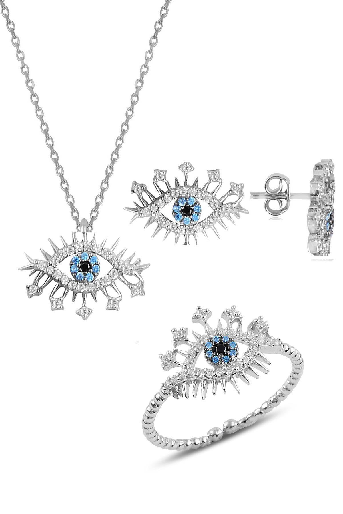 Söğütlü Silver Gümüş rodyumlu zirkon taşlı lareyn kolye küpe ve yüzük gümüş set